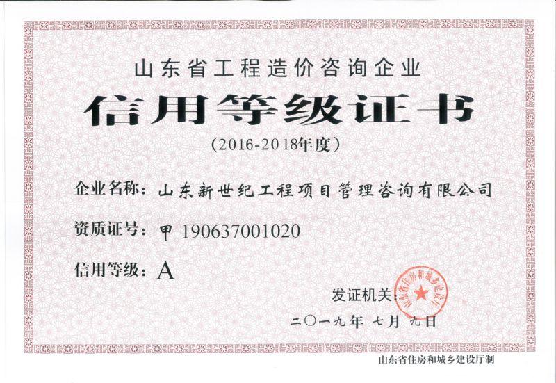山东省工程造价咨询企业信用等级证书(A)